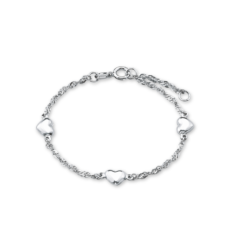 Armband Silber 925, rhodiniert Herz
