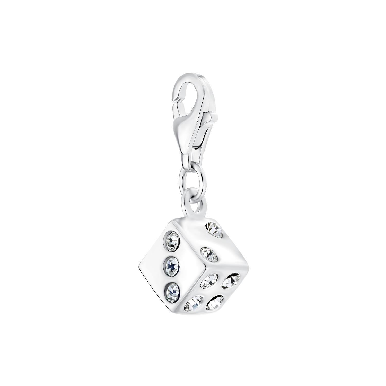 Charm für Damen, 925 Sterling Silber Zirkonia | Würfel
