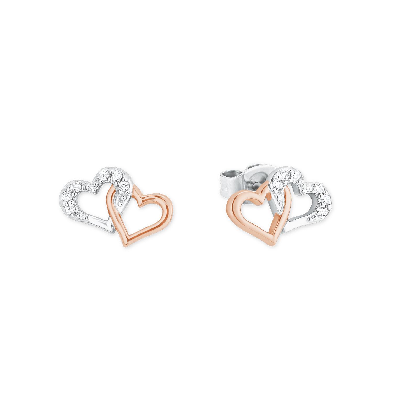 Ohrstecker für Damen, Sterling Silber 925, Zirkonia Herz