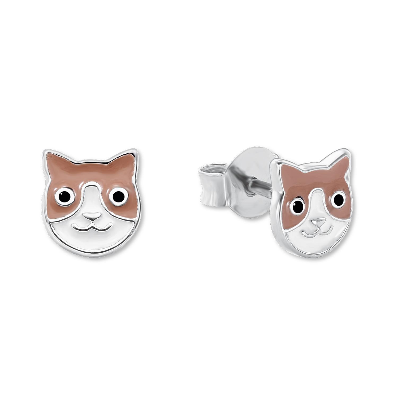Ohrstecker für Mädchen, Sterling Silber 925, Katze