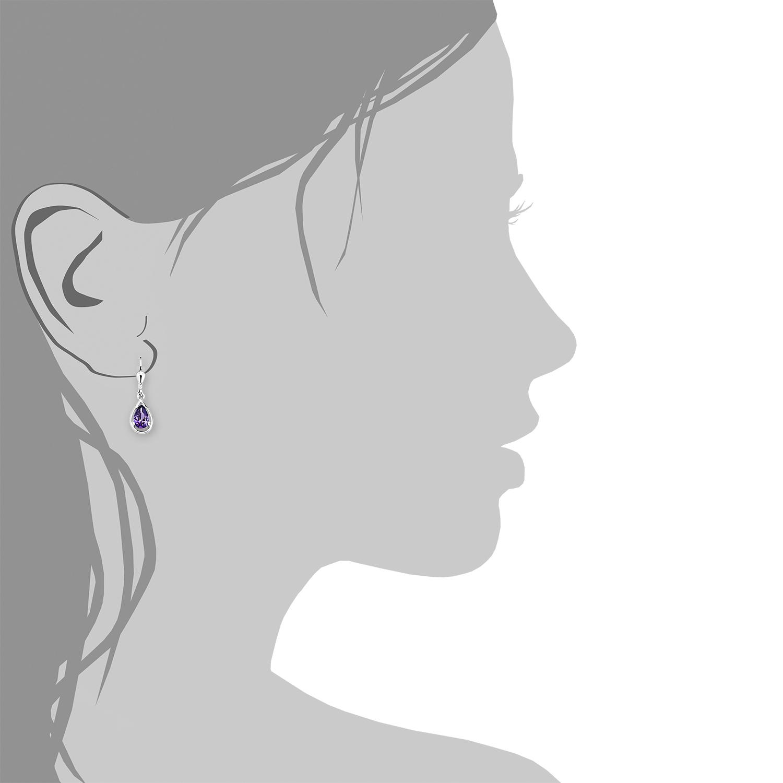 Ohrring für Damen 2,7 cm 925 Silber rhodiniert Zirkonia lila
