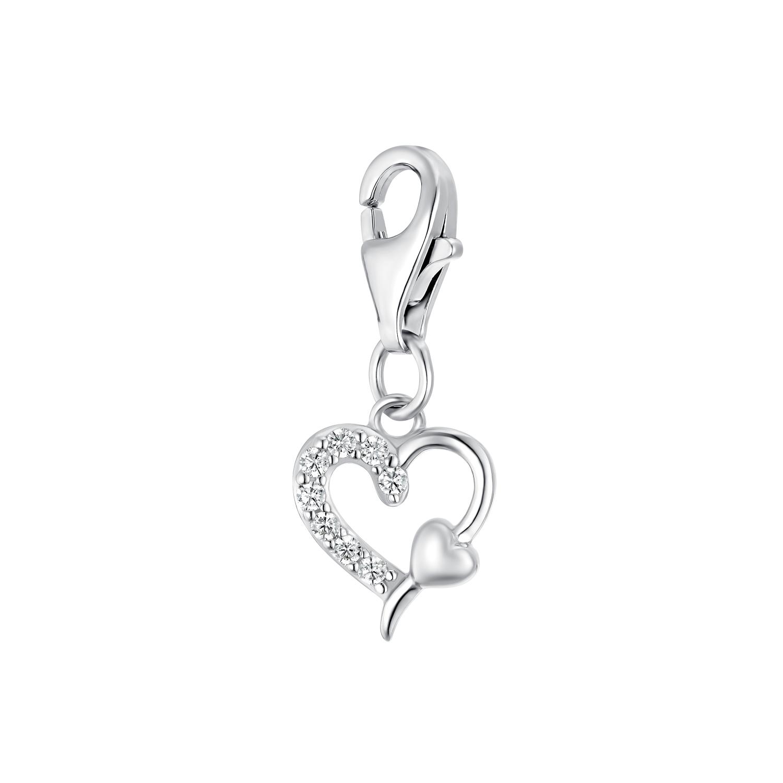 Charms für Damen, 925 Sterling  Silber  Zirkonia | Herz