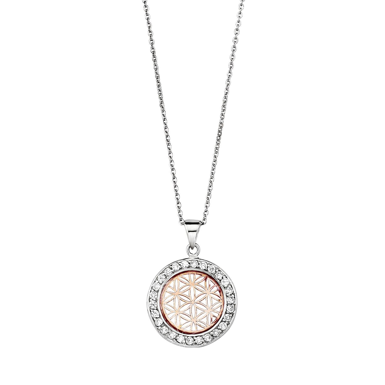 Kette mit Anhänger amor Damen-Kette 45 cm mit Anhänger Blume des Lebens 925 Silber teil-rosévergoldet Bicolor Zirkonia weiß