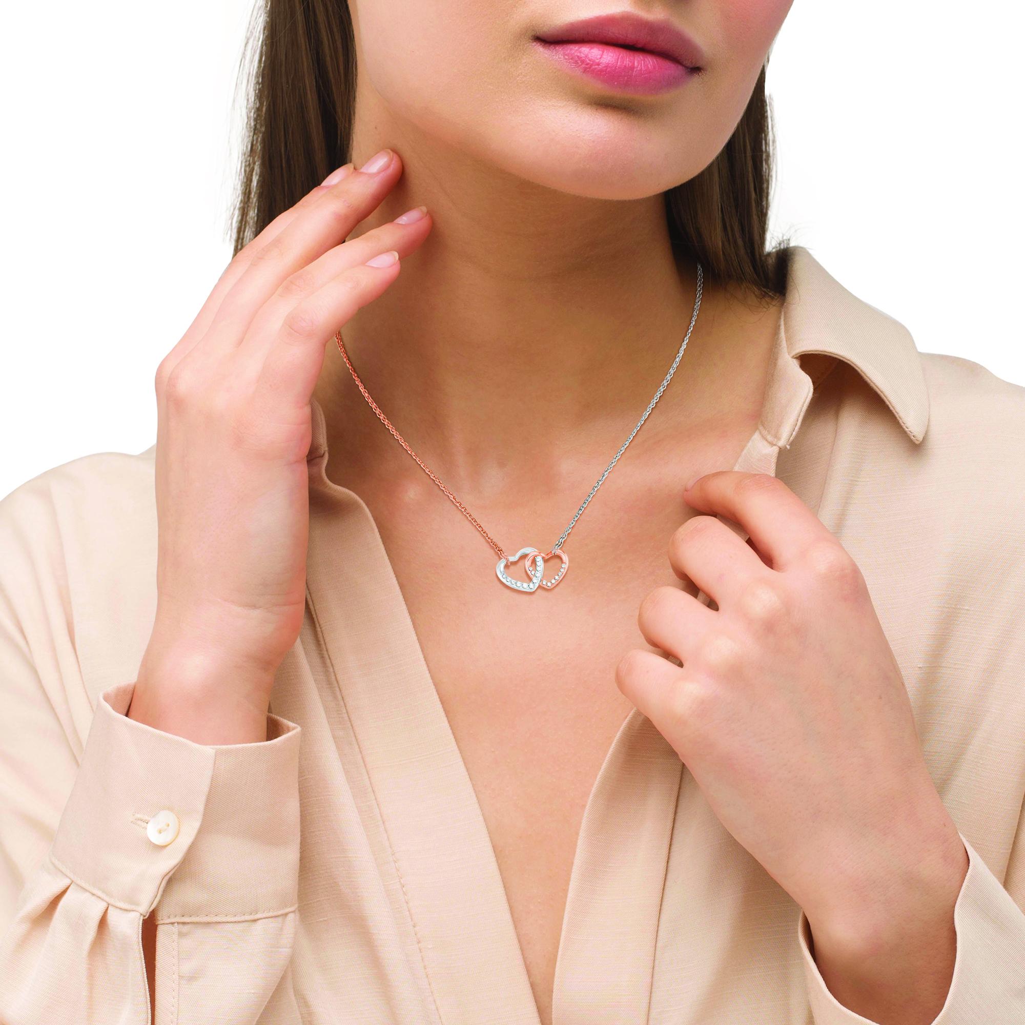 Kette mit Anhänger Silber 925, rhodiniert+rosévergoldet Zirkonia synth. Herz