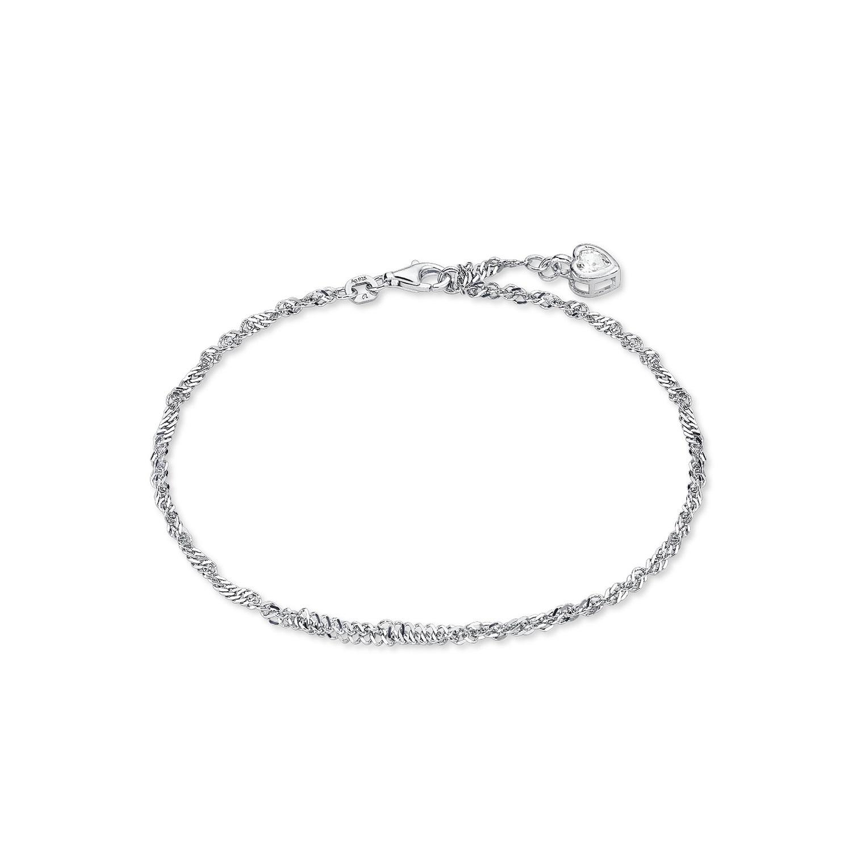 Fußkette für Damen Singapur 925 Sterling Silber rhodiniert