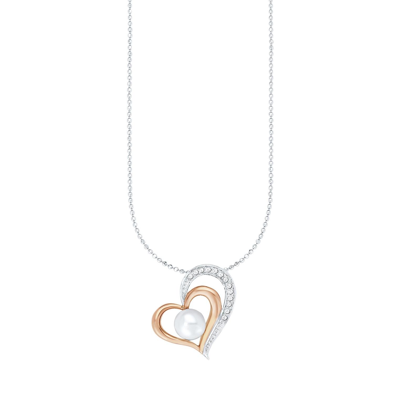 Kette mit Anhänger für Damen, Sterling Silber 925, Zirkonia Süßwasserzuchtperle Herz