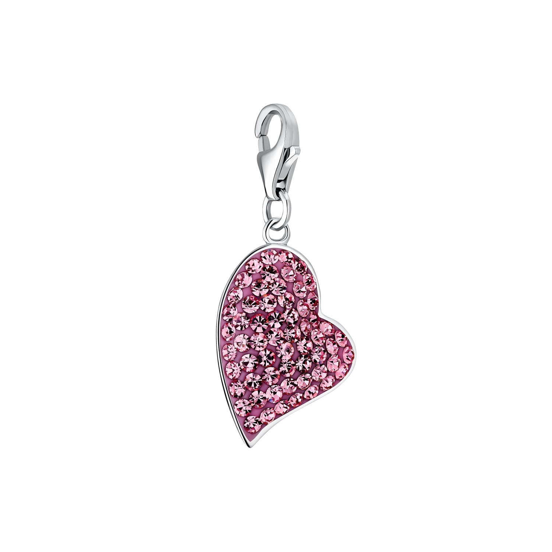 Charm für Damen, 925 Sterling  Silber  Kristallglas | Herz