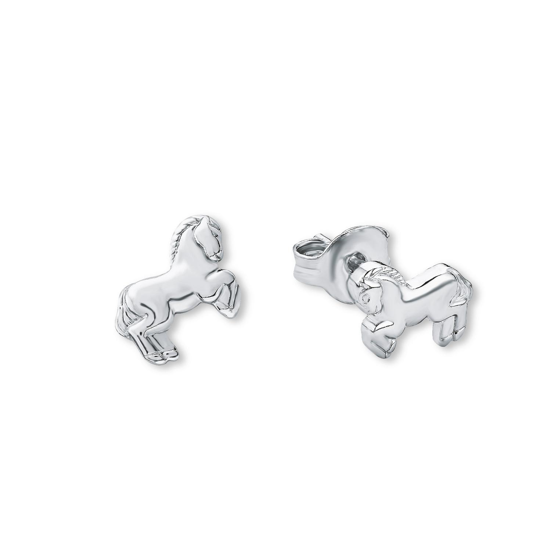 Ohrstecker für Mädchen  Pferde 925 Sterling Silber rhodiniert