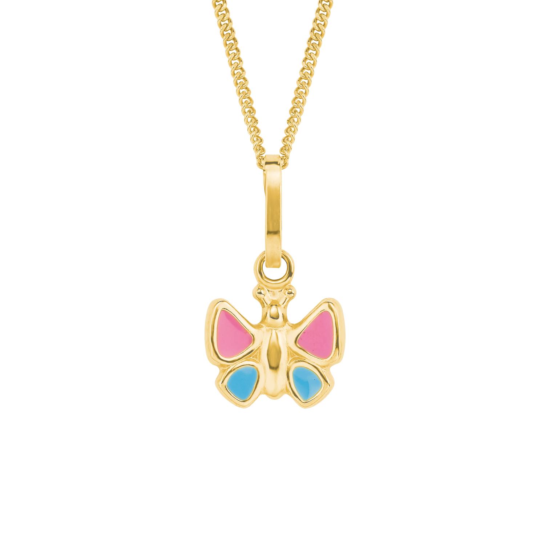 Kette mit Anhänger für Mädchen, Gold 375, Schmetterling