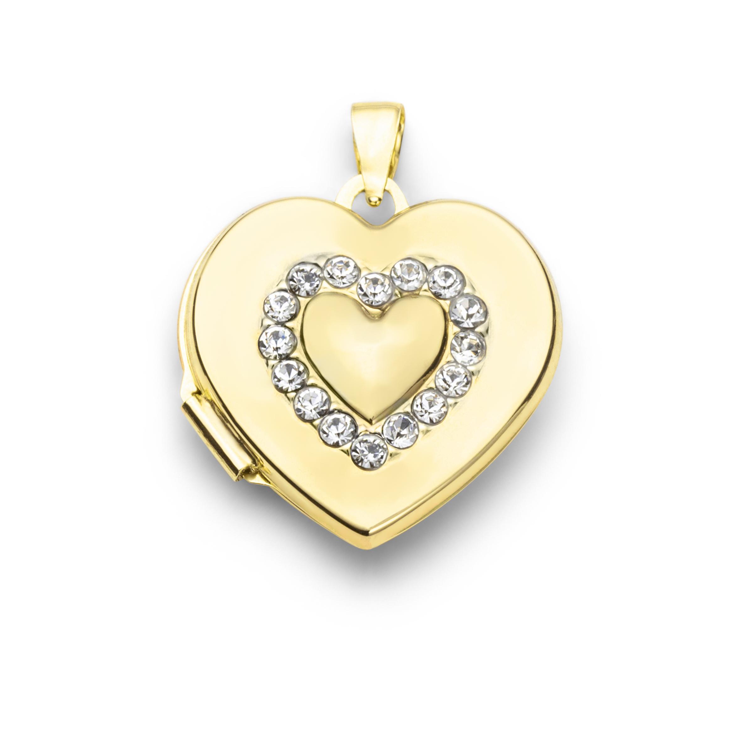 Anhänger für Damen, Gold 375, Zirkonia Herz