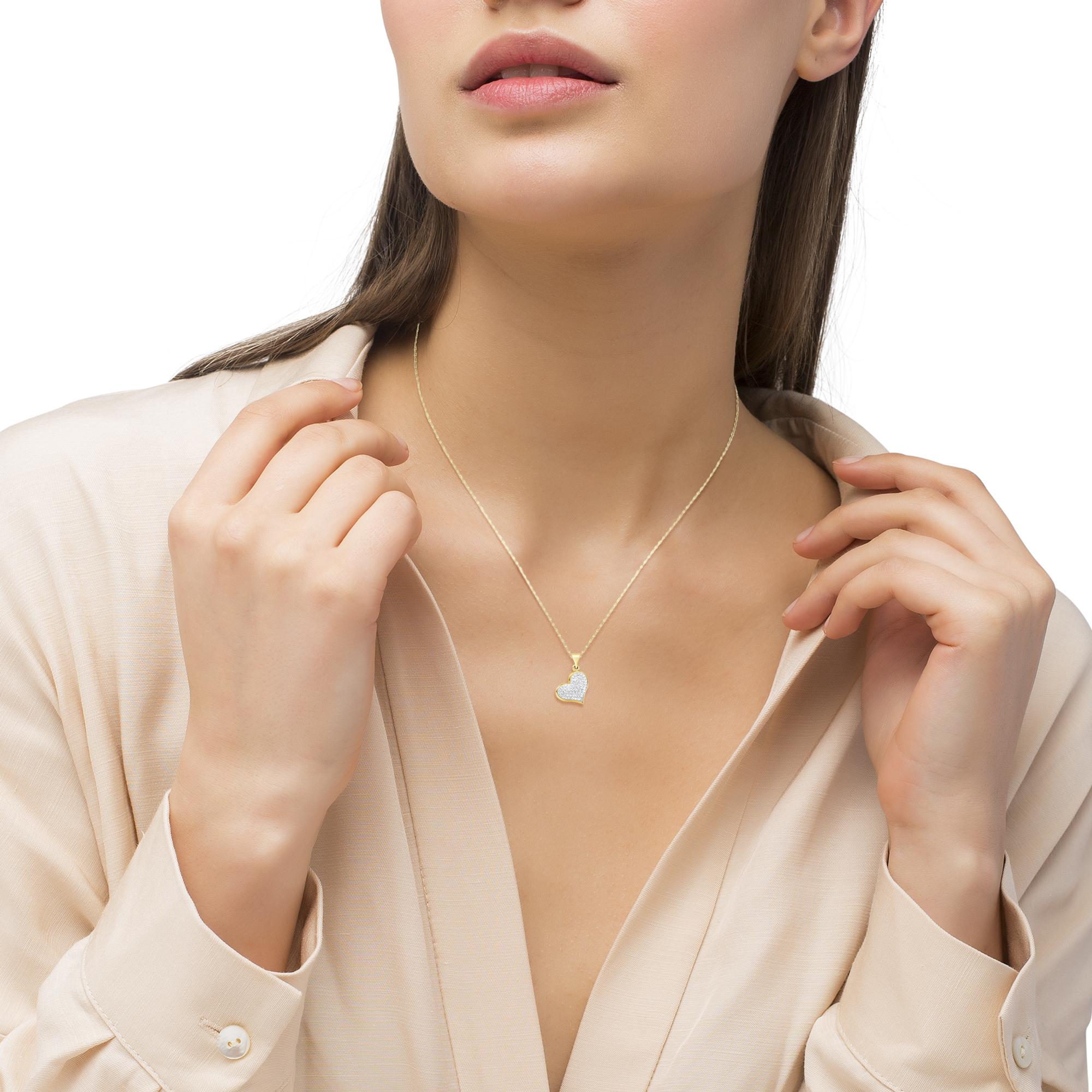Kette mit Anhänger für Damen, Gold 375, Swarovski Kristall® Herz