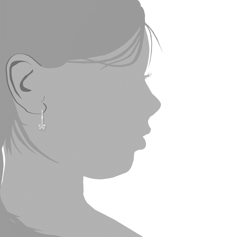 Ohrring Silber 925, rhodiniert Zirkonia synth. Schmetterling