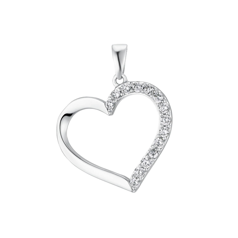 Motivanhänger für Damen, 925 Sterling Silber Zirkonia   Herz