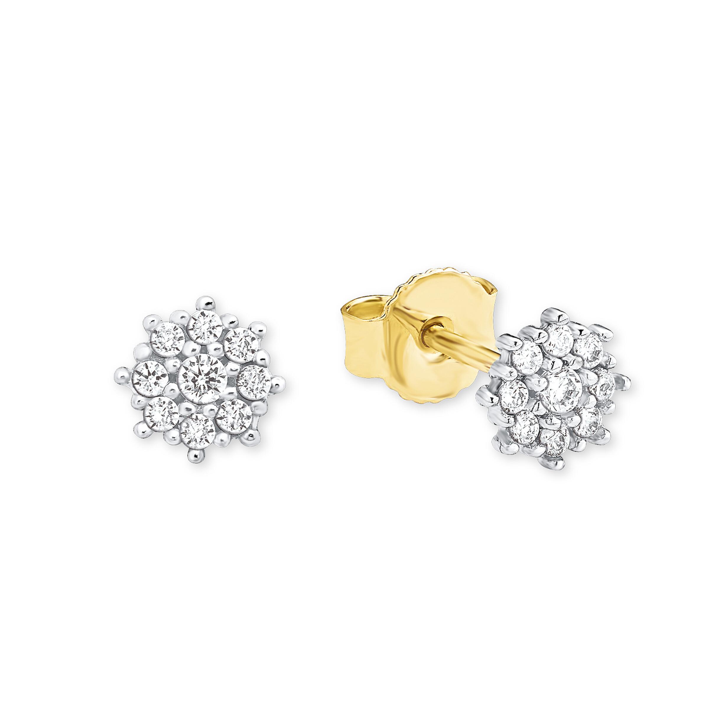 Ohrstecker für Damen, Gold 375, Zirkonia