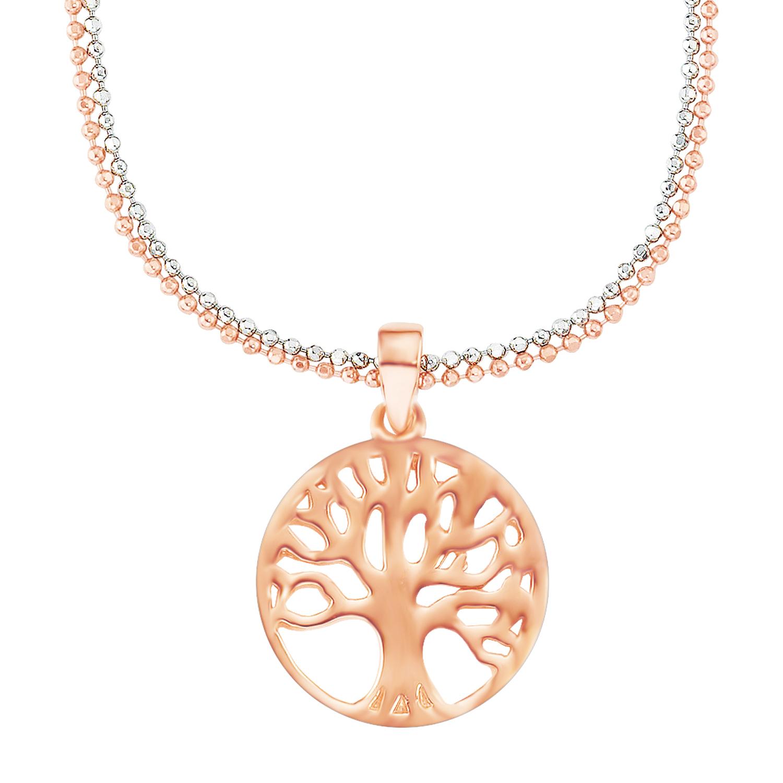 Kette mit Anhänger Silber 925, rhodiniert+rosévergoldet Lebensbaum