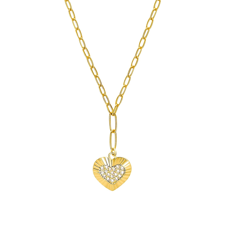 Kette mit Anhänger für Damen, Sterling Silber 925 vergoldet, Zirkonia | Herz