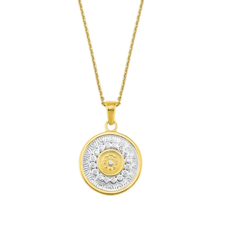 Kette mit Anhänger für Damen, Sterling Silber 925, Zirkonia Coin