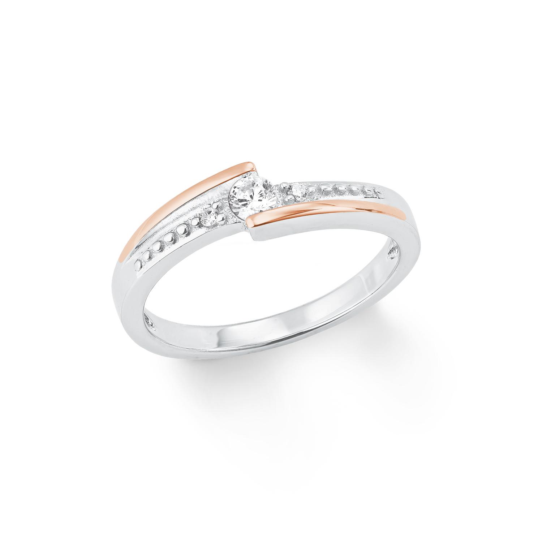 Ring Silber 925, rhodiniert+ rosévergoldet Zirkonia synth.