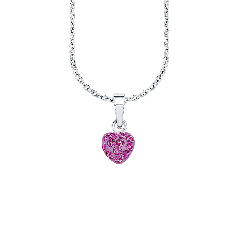 Kette mit Anhänger Silber 925, rhodiniert Kristallglas Herz