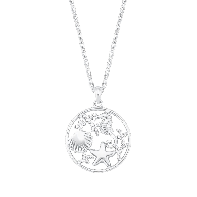 Kette mit Anhänger für Damen, Sterling Silber 925, Zirkonia Seestern