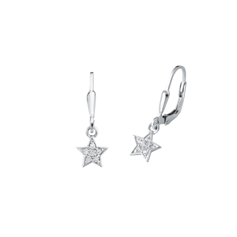 Ohrring für Mädchen, Sterling Silber 925, Zirkonia Stern