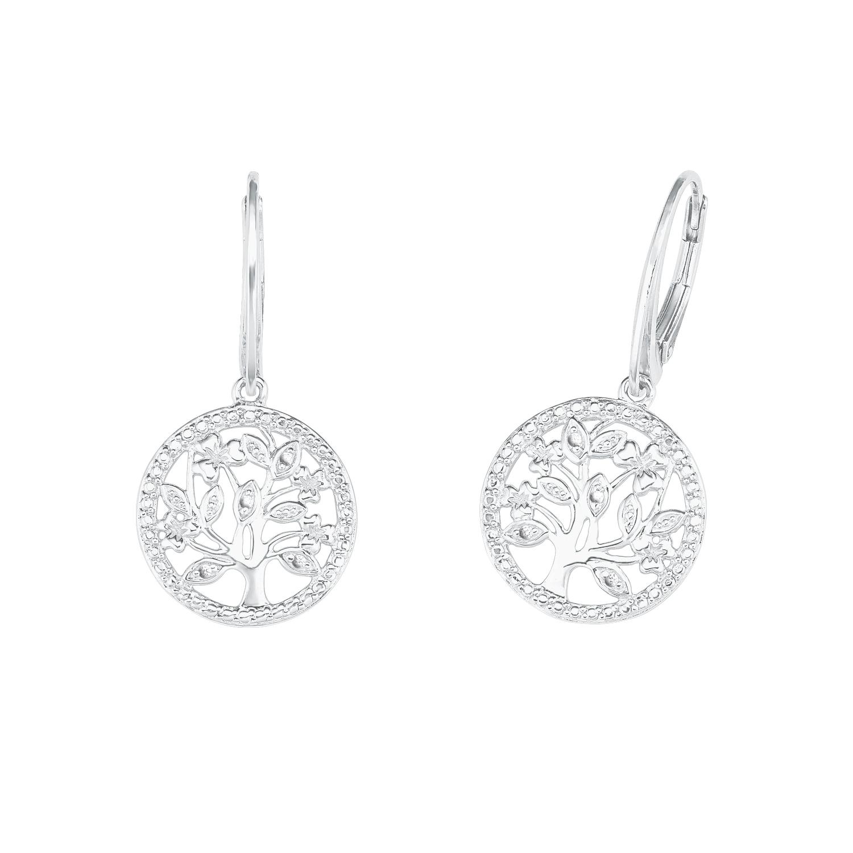 Ohrhänger für Damen mit Lebensbaum aus 925 Sterling Silber