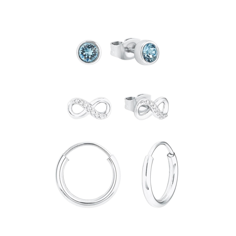 Set für Damen, Sterling Silber 925, Kristallglas Infinity