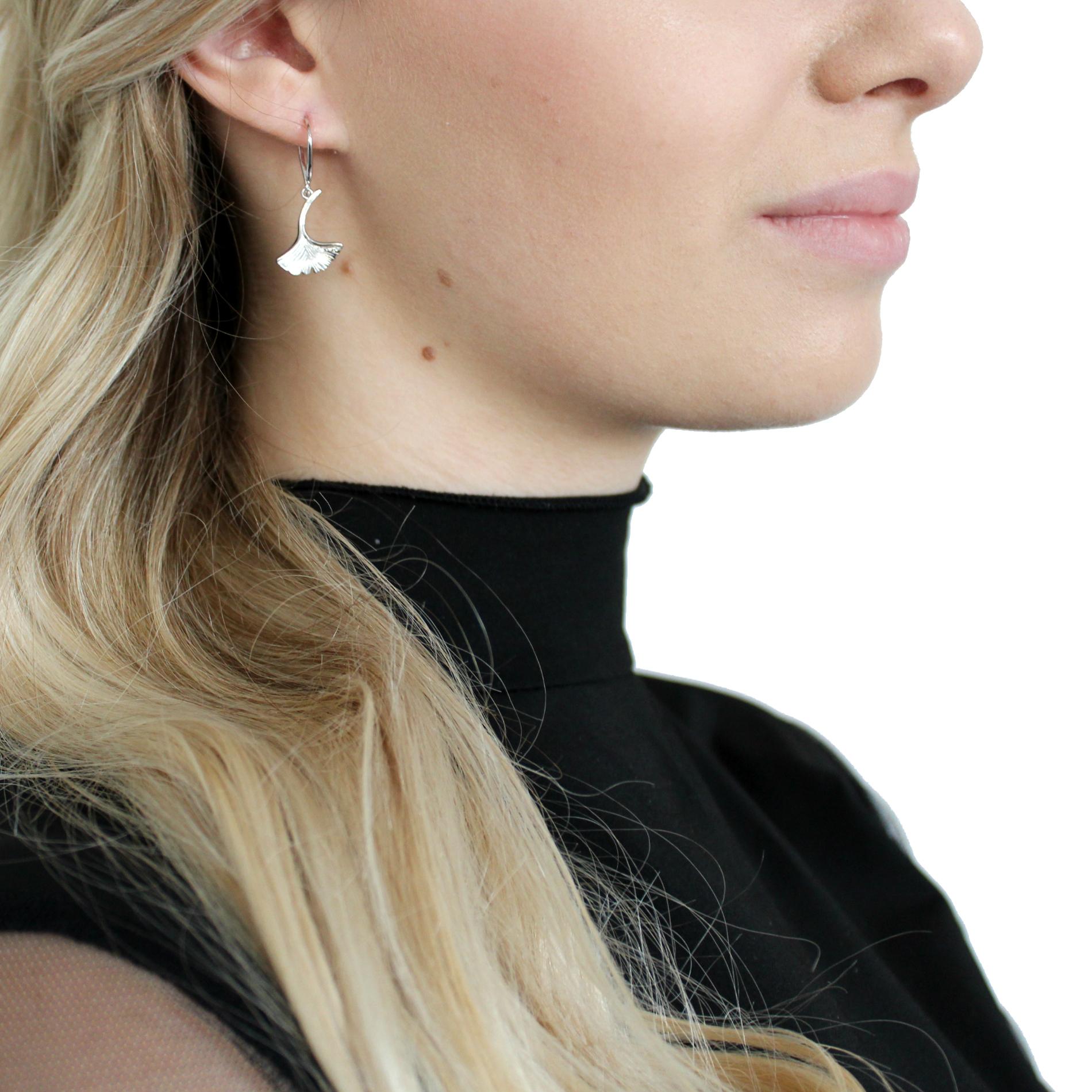 Ohrhänger für Damen, Sterling Silber 925, Ginkoblatt