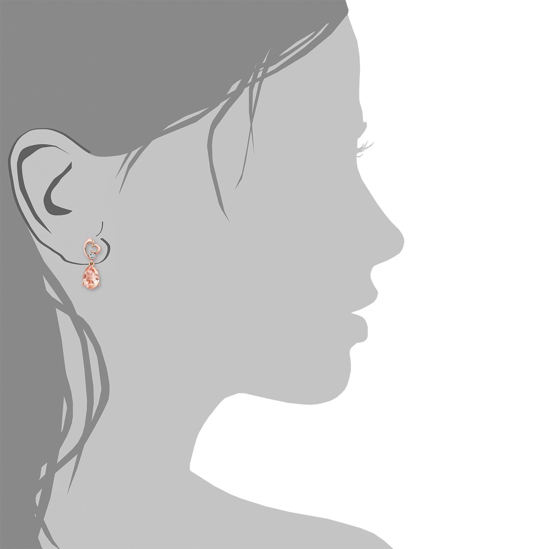 Ohrhänger für Damen, Silber 925 rosévergoldet, Zirkonia