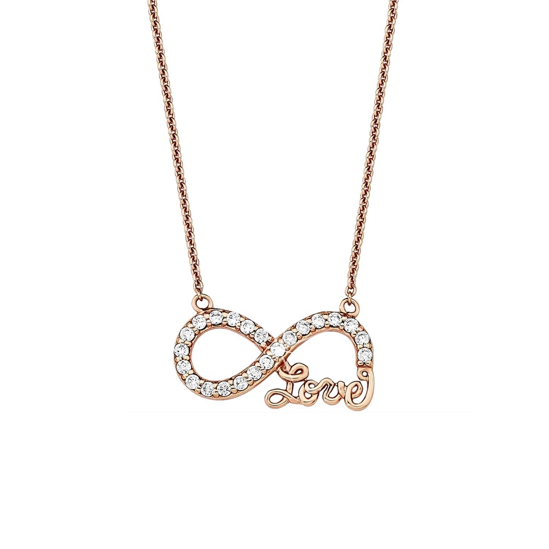 Kette mit Anhänger amor Damen-Kette 45 cm mit Anhänger Infinity Love 925 Silber rosévergoldet Zirkonia weiß
