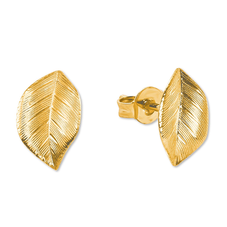 Ohrstecker für Damen, Gold 375, Blatt