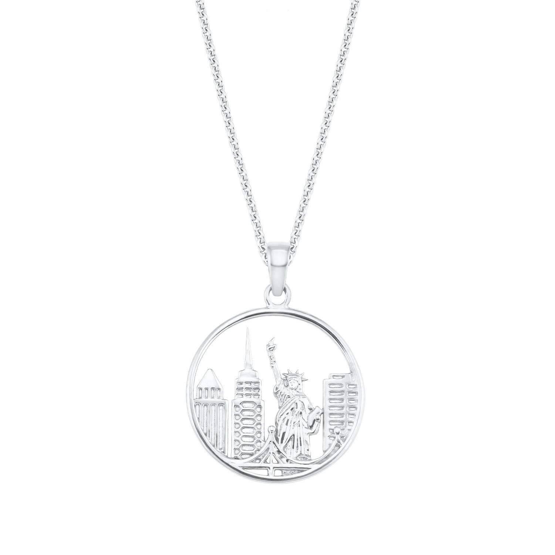 Kette mit Anhänger für Damen, Sterling Silber 925, New York