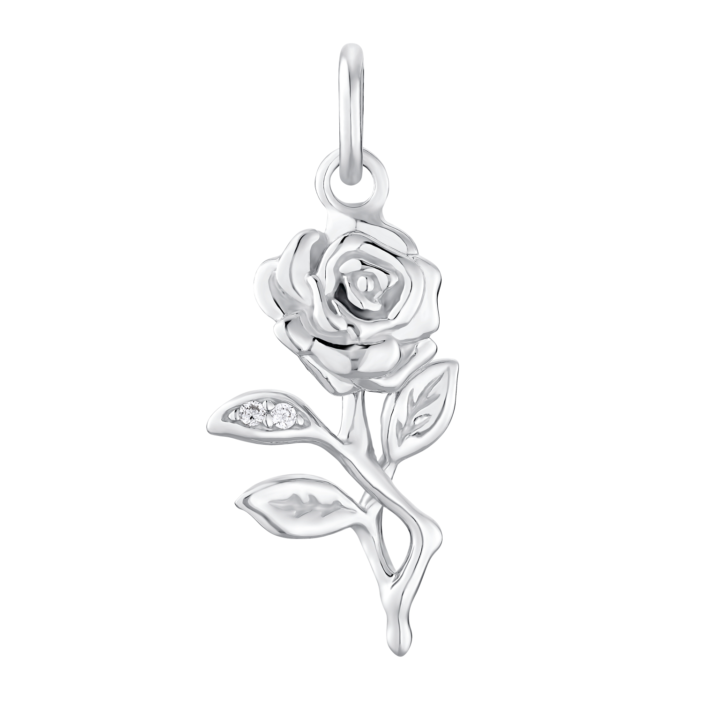 SILVER ROSE Anhänger für Damen, Sterling Silber 925, Zirkonia Rose