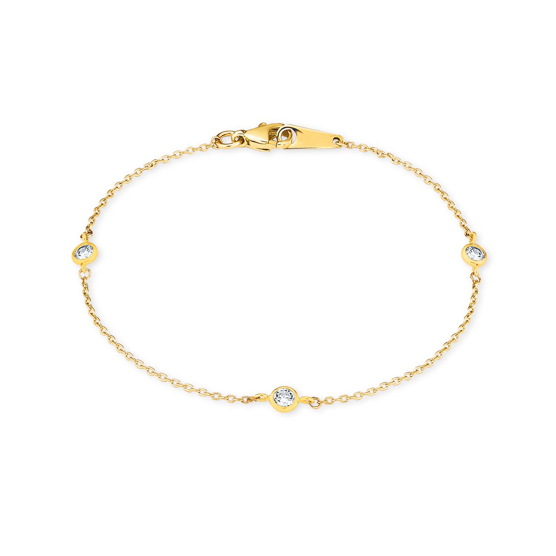 Armband für Damen 18 cm mit Anhängern 375 Gelbgold Zirkonia weiß