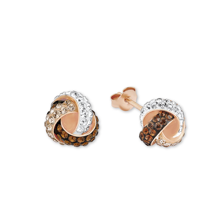 Ohrstecker für Damen 10 mm Knoten 925 Silber rosévergoldet veredelt mit Kristallen von Swarovski