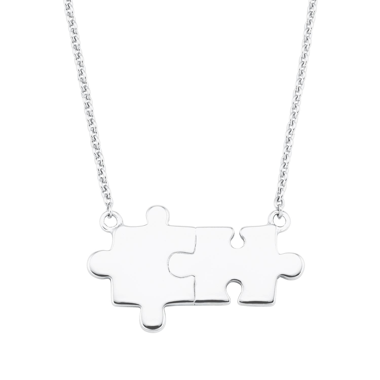 Kette mit Anhänger Silber 925, rhodiniert Puzzleteil