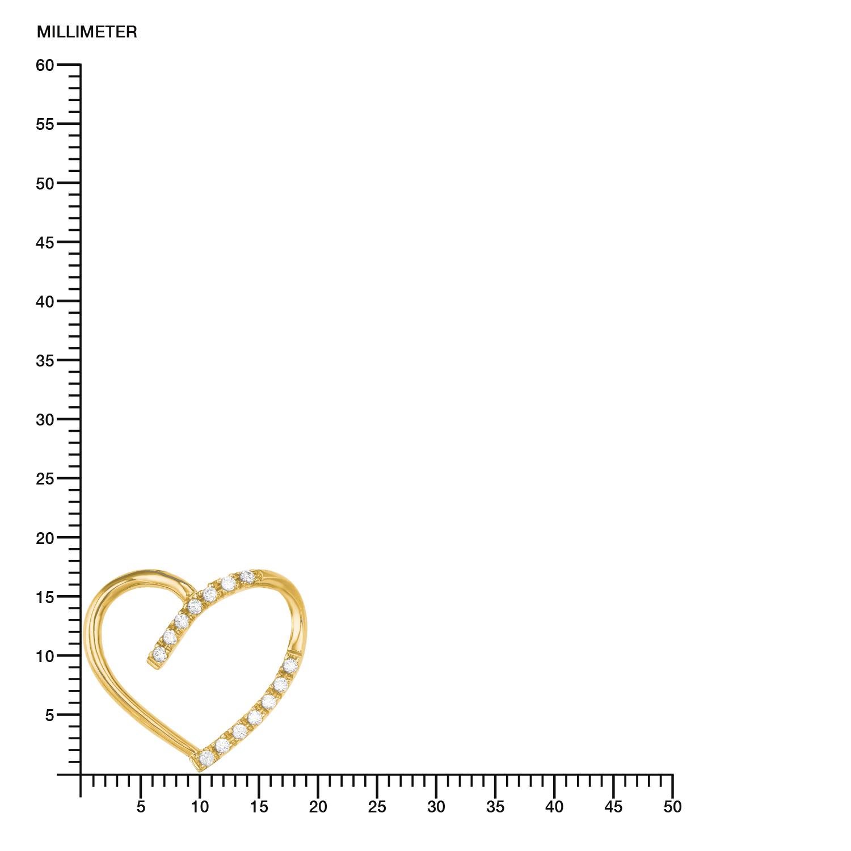 Kette mit Anhänger für Damen, Gold 585, Zirkonia Herz