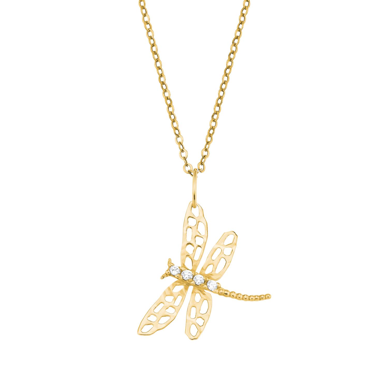 Kette mit Anhänger für Damen, Gold 375, Libelle
