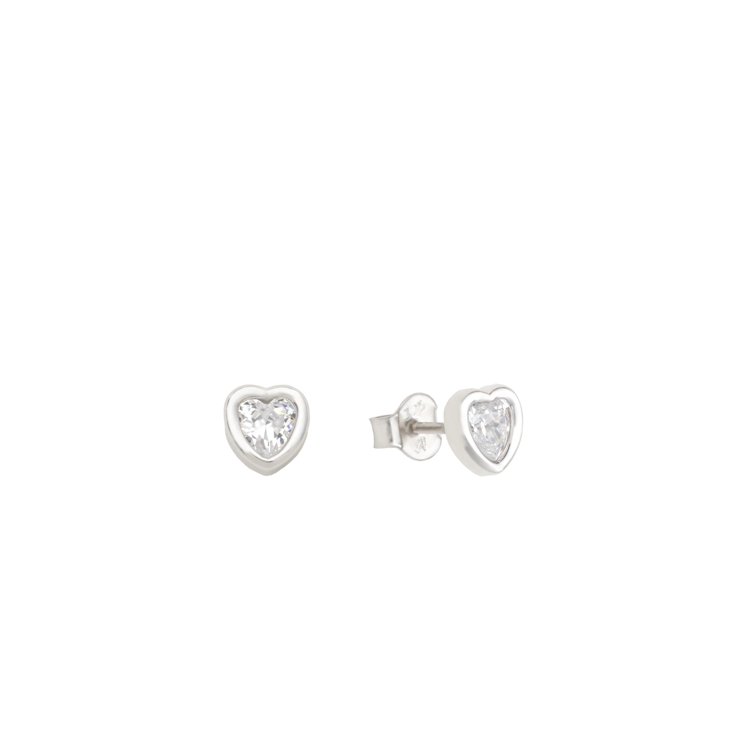 Ohrstecker für Damen, Weißgold 375, Zirkonia Herz