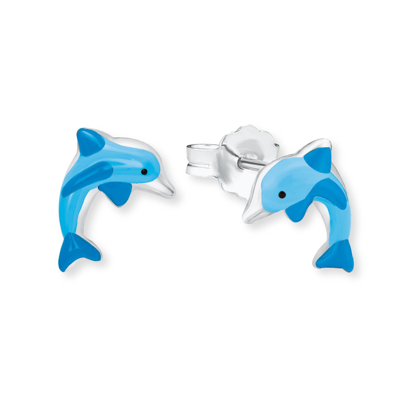 Ohrstecker Silber 925, rhodiniert Delphin