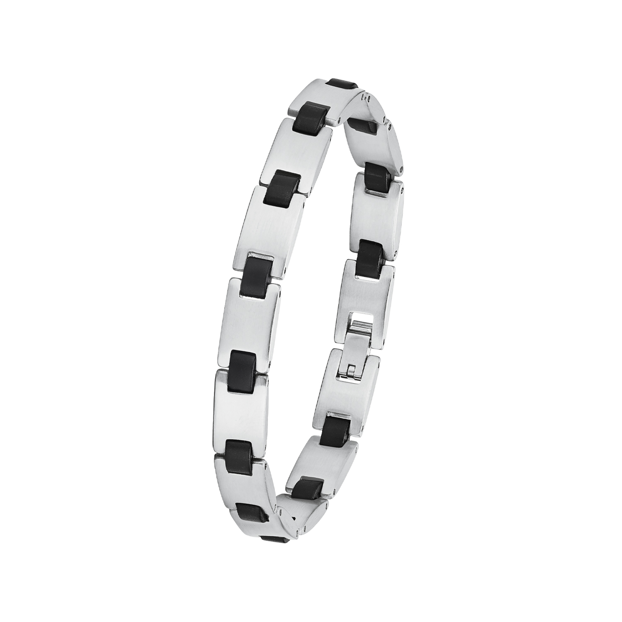 Armband für Herren, Edelstahl mit Kautschuk, 21 cm