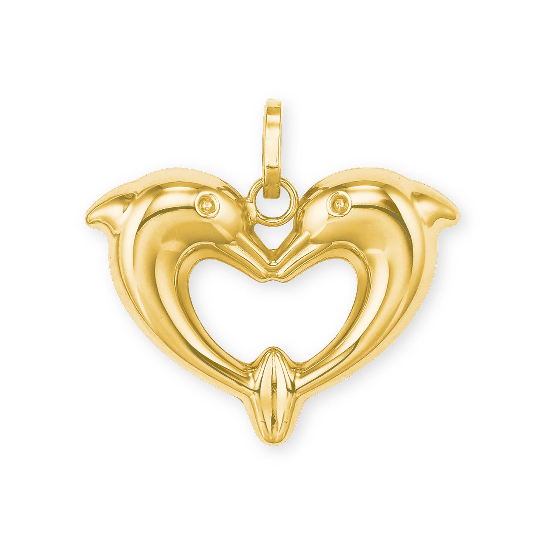 Anhänger für Damen, Gold 585, Delphin
