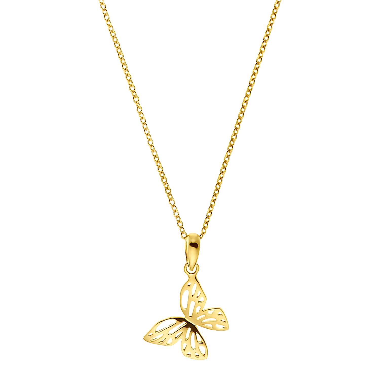 Kette mit Anhänger für Damen, Sterling Silber 925 vergoldet | Schmetterling