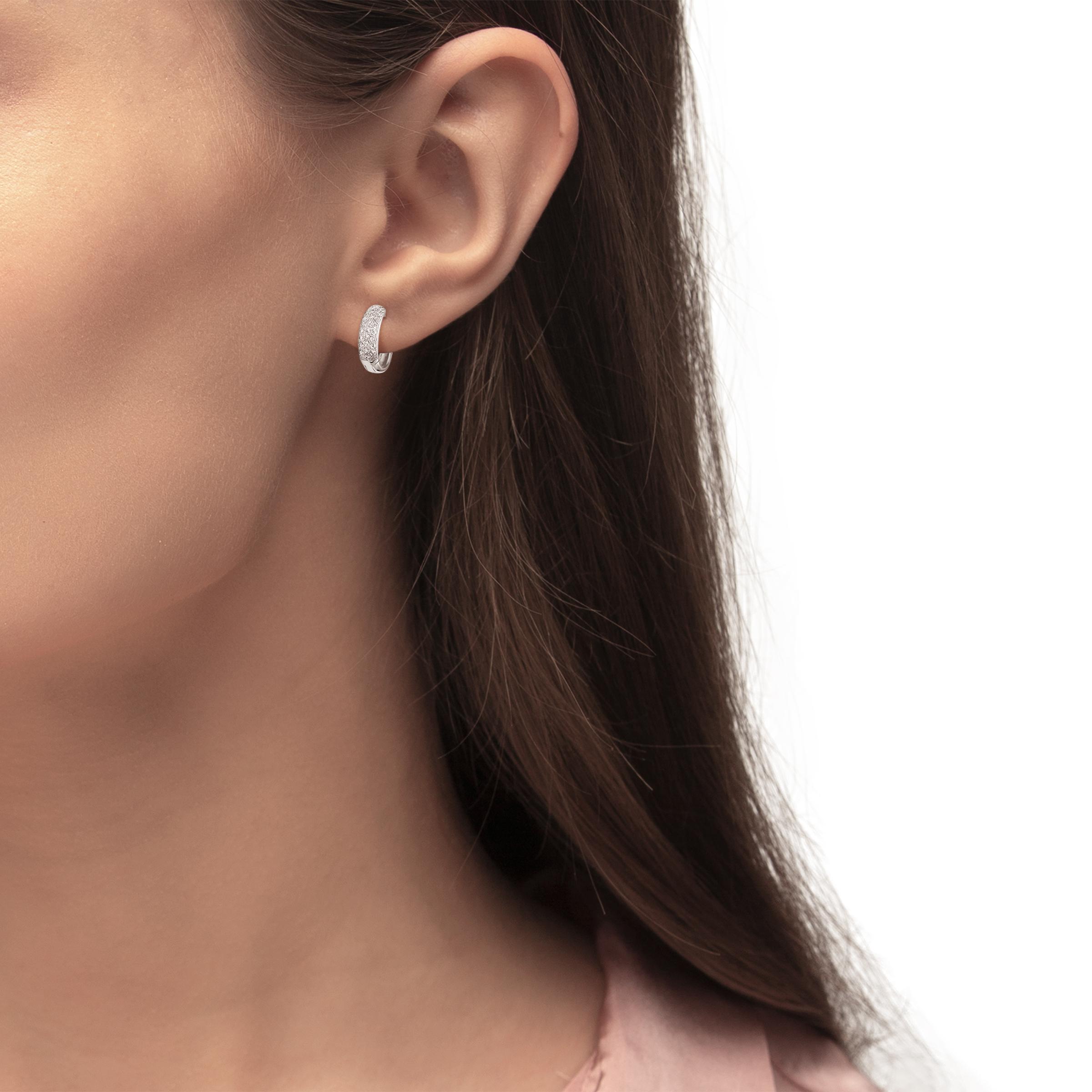 Creole für Damen 13 mm 925 Sterling Silber rhodiniert Zirkonia weiß