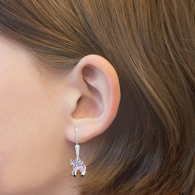 Ohrring für Mädchen, Sterling Silber 925, Einhorn