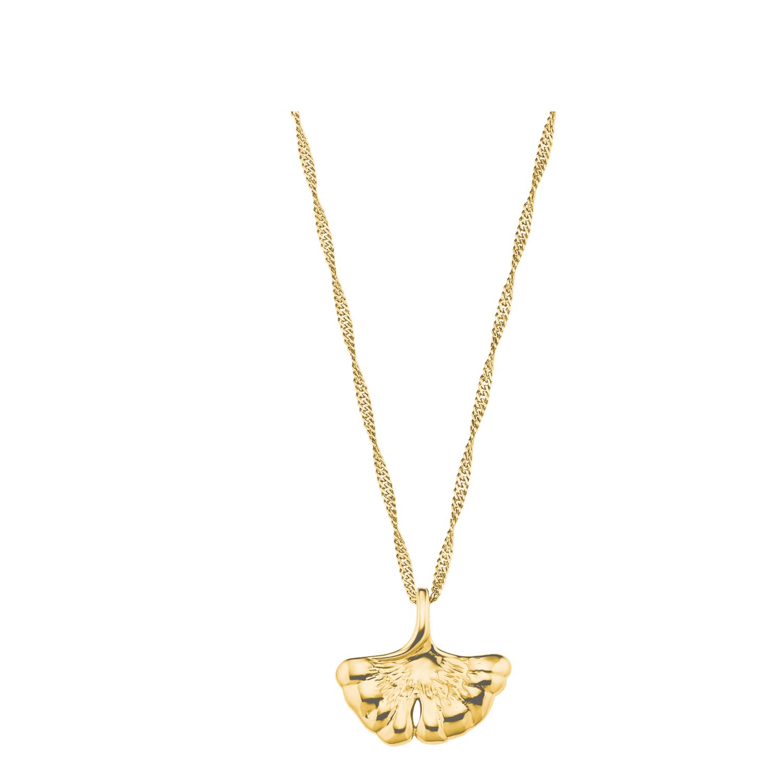 Kette mit Anhänger für Damen, Silber 925 vergoldet, Ginkgoblatt
