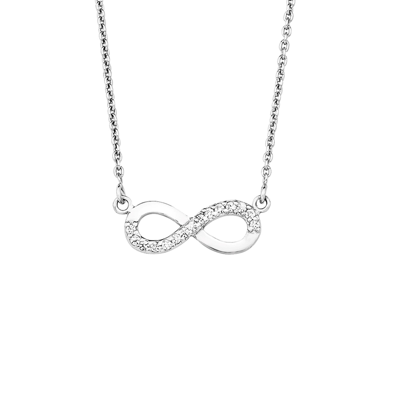 Kette mit Anhänger Silber 925, rhodiniert Zirkonia synth. Infinity
