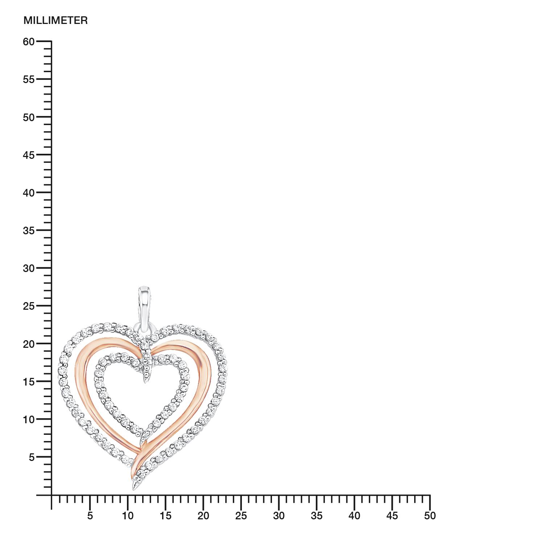 Kette mit Anhänger für Damen 45 cm mit Anhänger Herz Bicolor 925 Sterling Silber teil-rosévergoldet