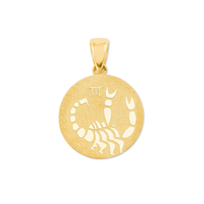 Anhänger Unisex Sternzeichen Skorpion rund 375 Gold teilmattiert