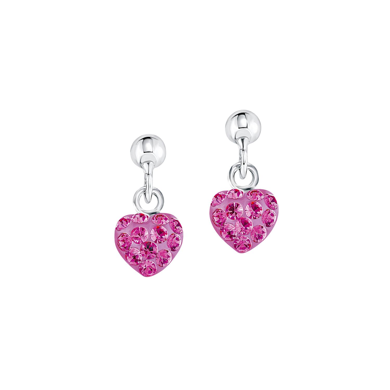 Ohrring für Mädchen, Sterling Silber 925, Kristallglas Herz